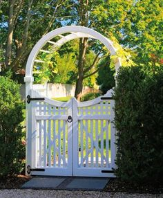 Spindle Top Arbor with a Hampton Gate | Wood Arbors and Solid Cellular PVC Arbors from Walpole Woodworkers