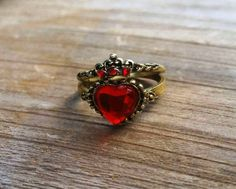 Disney Descendants Inspired Stackable Rings, Queen of Hearts Jewelry, Evie Costume Rings, Red Heart with Crown, OUAT Evil Queen Jewellery by FishesGiveKisses on Etsy https://www.etsy.com/listing/238689514/disney-descendants-inspired-stackable