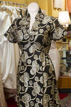 Cabaret Vintage - 1970's Vintage Black and Gold Dress, $185.00 (http://www.cabaretvintage.com/dresses/1970s-vintage-black-and-gold-dress/)