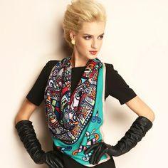 Fashion Pattern Square 100% Wool Shawl