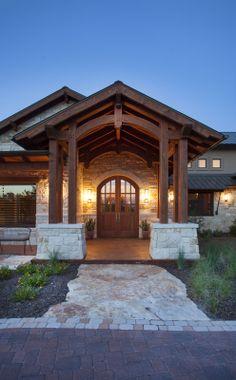 Grand Entrance to a Timber Frame Home!  #frontdoor  www.texastimberframes.com https://www.facebook.com/TexasTimberFrames