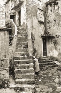 Lucania Eboli, Italy, stone steps, stairs, stairway, rustic, vintage, weathered, patina, beauty, architechture, gorgeous, photo b/w.