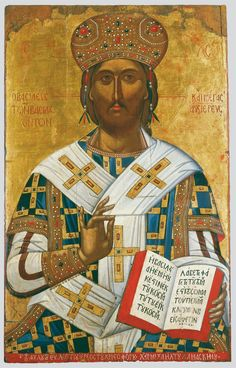 "Yours is princely power from the day of your birth. In holy splendor before the daystar, like dew I begot you. The LORD has sworn and will not waver:""You are a priest forever in the manner of Melchizedek.""_Psalm 110:3-4 // Christ the Great High Priest / Cristo Sumo Sacerdote // Crete, second half of the 16th century // Michael Damaskenos // Byzantine and Christian Museum, Athens // #Jesus #Byzantine #icon"