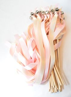 50 Ribbon Bell Wands ~ Soft Pink AKA Tickled & Ivory ~ We... http://www.amazon.com/dp/B00XBAI5EE/ref=cm_sw_r_pi_dp_Swpixb10NN817