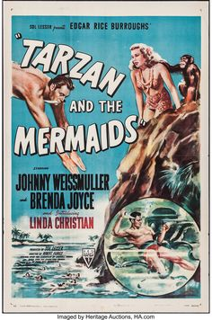 Movie Posters:Adventure, Tarzan and the Mermaids (RKO, Fine on Linen. Movie Posters:Adventure, Tarzan and the Mermaids (RKO, Fine on Linen. Old Film Posters, Movie Poster Art, Vintage Posters, Cinema Posters, Poster Wall, Old Movies, Vintage Movies, Vintage Books, Tarzan Movie