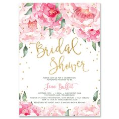 """Jenn"" Pink Blooms + Gold Bridal Shower Invitation"