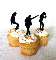 Michael Jackson Cupcake Toppers Set of 3 by CreativeButterflyXOX, $4.95