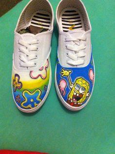 7347aed1258d Hand painted SpongeBob shoes. SpongebobVans AuthenticHand  PaintedCraftsHandmade ...