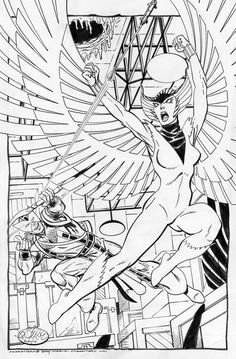 Hawkeye vs Deathbird by John Byrne
