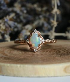 6643464e2 Opal engagement ring vintage Rose gold oval cut Antique Delicate diamond  Half eternity Wedding wome