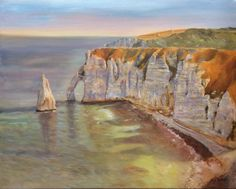 FineArtSeen - THE CLIFFS - ETRETAT by Beatrice Cloake. This original fine art seascape painting is full of colour and comes from the collection on FineArtSeen. Click to view more art at great prices from the Home Of Original Art. << Pin For Later >>
