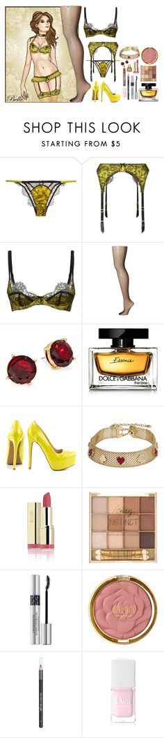 """Keep calm and wear lingerie, Belle."" by bambolinadicarta ❤ liked on Polyvore featuring Disney, Agent Provocateur, Commando, Lauren Ralph Lauren, Dolce&Gabbana, Qupid, Betsey Johnson, Christian Dior, Milani and Barry M"