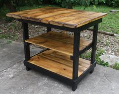 Multi Functional Tall Table American & Dark Walnut Stained Country White Kitchen Island W Center Shelf Custom Sizes Colors Avail - Kitchen - Best Kitchen Decor! Oak Stain, Dark Walnut Stain, Country White Kitchen, Rustic Kitchen, Country Bench, Kitchen Island Bar, Kitchen Island From Pallets, Space Kitchen, Tall Table