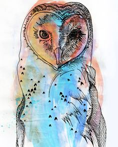 'Owl' by Jordan Bird  I want to also try abstract colors on lineart