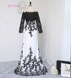 >> Click to Buy << HVVLF 2017 Formal Celebrity Dresses Mermaid Long Sleeves Evening Dress Black Whie Appliques Lace Famous Red Carpet Dresses #Affiliate