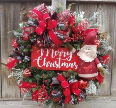 Handmade mesh wreaths by WreathDesignsByLinda on Etsy Santa Wreath, Christmas Door Wreaths, Holiday Wreaths, Christmas Tree Decorations, Holiday Decor, Fresh Christmas Trees, Rustic Christmas, Christmas Crafts, Christmas Ornaments