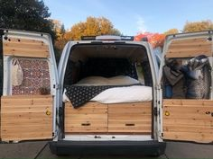 We designed and converted our 2010 Ford Transit Connect cargo van into a camper that sleeps two people. It's one of the smallest cargo vans on the market and. Van Conversion Ford Transit, Cargo Van Conversion, Diy Van Conversions, Van Conversion Interior, Camper Van Conversion Diy, Ford Transit Connect Camper, Ford Transit Campervan, Campervan Interior Volkswagen, Self Build Campervan