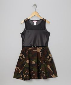 Take a look at this Black Camo Mesh Techno Dress by Dream Girl on #zulily today!