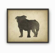 English Bulldog Wall Art Print 4  Modern Rustic by QuantumPrints