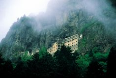 Sumela is 1600 year old ancient Orthodox monastery located at a 1200 meters height on the steep cliff at Macka region of Trabzon city in Turkey.  The monastery is constructed on rocks reached by a path through the forest.