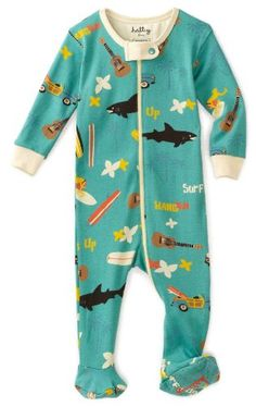 Amazon.com: Hatley - Baby Boys Infant Surf's Up All Over Footed Coverall: Baby