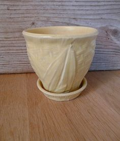 Yellow Basketweave Planter