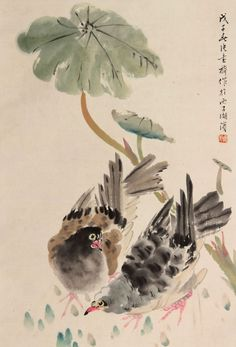 #TraditionalSumie #ChineseInkPainting #MasterZhangShuQi #ChineseFlowersAndBirdsPainting Sumi E Painting, Japan Painting, Chinese Painting, Oriental Flowers, Chinese Brush, Flower Bird, China Art, Birds, Watercolor