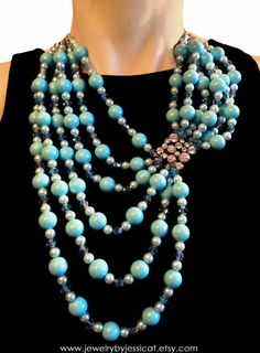 VINTAGE Statement Necklace, Antique, Tiffany Blue, Aqua, Broach, Multi-strand, Blue, Crystal, Pearls, Jewelry by Jessica Theresa. $90.00, via Etsy.