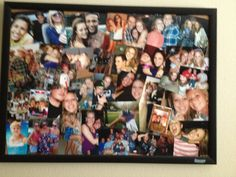 Picture collage on cork board ((: