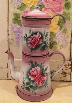 Rare Tall Antique Vintage French Enamel Biggin Coffee Pot ~ Pink Shading & Roses