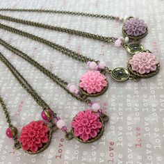 Pretty Valentine's Day flower necklaces. Perfect gift for that special someone.