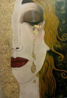 """Opera Pittorica: """"le lacrime di frejya"""". Copia d'autore- Klimt -  Artista: Alessandra Uscè -   100x70, acrilico e foglia oro su tela, 2016."""