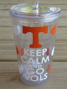 University of Tennessee, Keep Calm and Go Vols, Volunteers  Collegiate Tumbler  choose your team design by DearDoodlezDesigns, $12.00