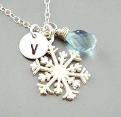 Snowflake Necklace, Blue Birthstone Initial Monogram Necklace, STERLING Silver, Bridesmaid Gift, Christmas Gifts, Winter Wedding Jewelry
