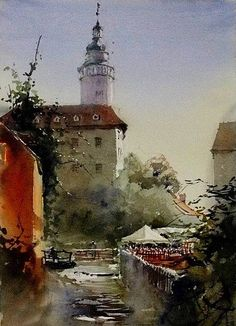 Watercolor artist Kazuo Kasai (Japanese: 1955) | Cafe in the morning — at Cesky Krumlov, Czech Republic.