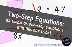 Breaking Down 2 Step Equations - Math in the Middle Math Teacher, Math Classroom, Teaching Math, Teaching Ideas, Classroom Ideas, Classroom Inspiration, Future Classroom, Middle School Activities, Math Activities