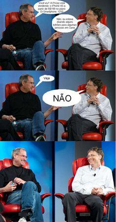 Steve Jobs e Bill Gates conversando sobre a Pricez. www.pricez.com.br