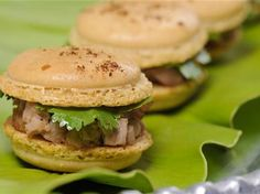 Lacquered Pekin Duck and Coriander Macaron...I NEVER thought of doing a savory Macaron!