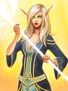 blood elf, world of warcraft, priest, fan art, game, character