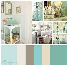 Vintage color palette, Beach Bungalow with accents of blue, teal, brown and beige. Exactly what I want for my guest room/bath!