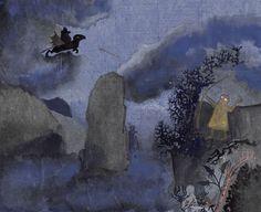 Legolas shoots the Nazgûl down - original art by Cor Blok