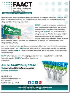Click to visit the FAACT site and benefit from all their resources for people with food allergies!