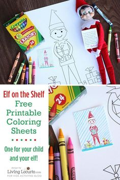ELF ON THE SHELF SIZED COLORING SHEETS {KID SIZED COLORING SHEETS TOO} - Kids Activities