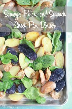 I have another easy sheet pan dinner recipe for you! Toss together all the ingredients, minus the spinach, and the roast them in the oven until golden.