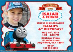 Thomas the train birthday invitation personalized diy printable thomas the train birthday party invitations thomas the train birthday party invitation wording filmwisefo Gallery