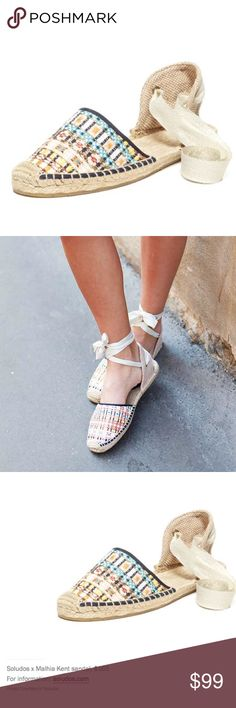 HOST PICK Soludos x Malhia Kent Espadrilles White, gold, multi colored metallic plaid design by Mahlia Kent! Comfy and stylish! These run true to size, and work well with even wide set feet. Purchased from Anthropologie, brand is Soludos. Anthropologie Shoes Espadrilles