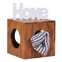 WOHNLING Beistelltisch Massivholz Sheesham 35x35 Cm Cube Wohnzimmer Tisch Design Landhaus Stil Couchtisch Quadratisch