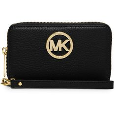 MICHAEL Michael Kors Fulton Large Flat Multifunction Phone Wallet ($98) ❤ liked on Polyvore featuring bags, wallets, black, black leather wallet, 100 leather wallet, michael michael kors wallet, american bag and leather wallet