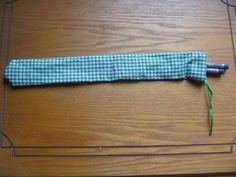chopstick bag green gingham with a ribbon by CraftyGreenPoet