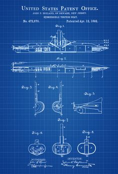 A2 size 165 inches x 234 inches ship blueprint nautical technical submarine patent print vintage submarine submarine blueprint naval art sailor gift nautical decor submarine poster malvernweather Choice Image